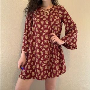 Maroon Floral Tunic Dress Small
